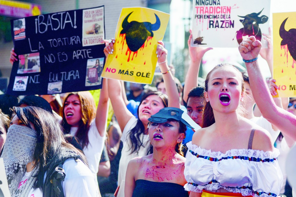 CIUDAD DE MÉXICO, 31ENERO2016.- Decenas de manifestaste realizaron una protesta pacifica en las inmediaciones de la Monumental Plaza de toros México, en la cual exigían la abolición de la Fiesta Brava. En la Plaza de Toros se vive hoy una de las más importantes corridas, ya que la plaza recibirá al torero español José Tomas, todas las localidades se vendieron poco tiempo después de salir a la venta.  FOTO: ISABEL MATEOS /CUARTOSCURO.COM