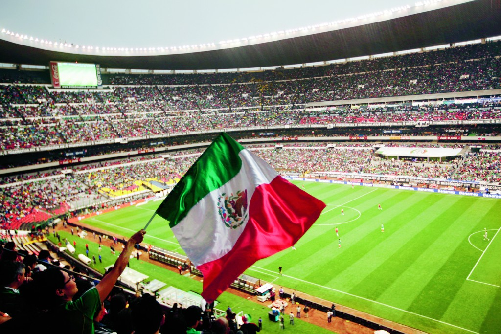 A fan waves Mexico's national flag during a 2014 World Cup qualifying soccer match with Costa Rica in Azteca Stadium in Mexico City, Tuesday, June 11, 2013. (AP Photo/Ivan Pierre Aguirre)