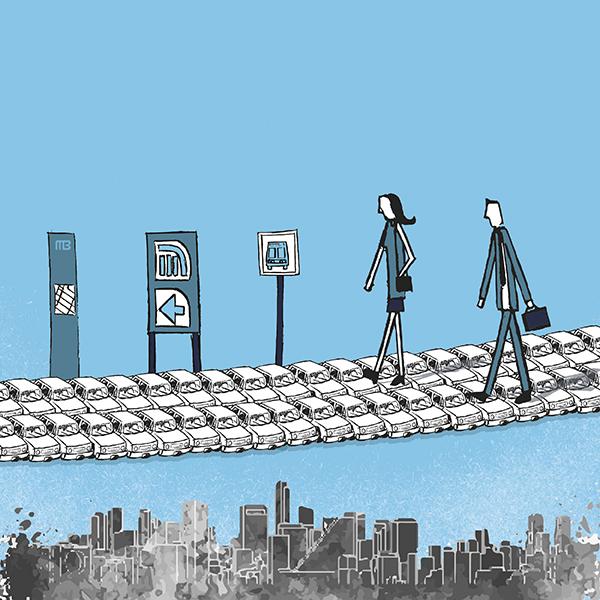 En la CDMX, quienes viven más cerca del transporte público es quienes tienen más autos. Arte, Andree Ávalos.